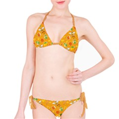 Orange Pattern With Honey And Bee Stickers Bikini Set by CoolDesigns