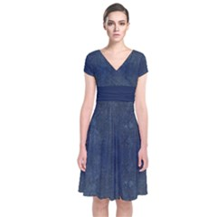 Denim Blue Short Sleeve Front Wrap Dress by CoolDesigns