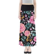 Black Floral Maxi Skirt by CoolDesigns