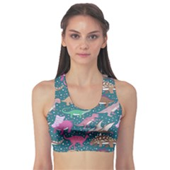 Dark Mint Dinosaur Sport Bra by CoolDesigns