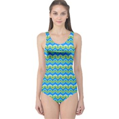 Green Ocean Chervon One Piece Swimsuit by CoolDesigns