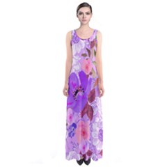Violetfloral Sleeveless Maxi Dress by CoolDesigns