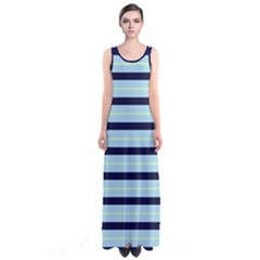 Aqua Stripes Sleeveless Maxi Dress by CoolDesigns
