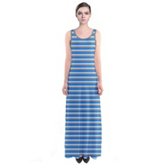 Blue Stripes Sleeveless Maxi Dress by CoolDesigns