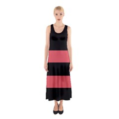Coral Stripes Sleeveless Maxi Dress by CoolDesigns