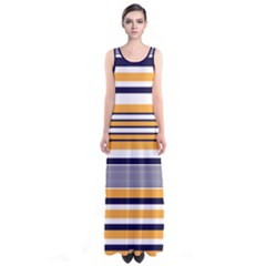 Orange Stripes Sleeveless Maxi Dress by CoolDesigns