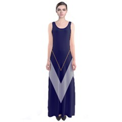 Navy Chevron Sleeveless Maxi Dress by CoolDesigns