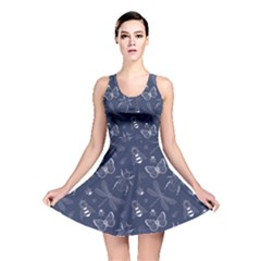 Navy Insect Pattern Reversible Skater Dress  by CoolDesigns