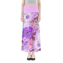 Violet Floral Maxi Skirt by CoolDesigns