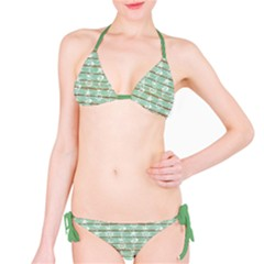 Green Old Boards Of Ship Deck Pattern Painted By Anchor Wheel Bikini Set by CoolDesigns