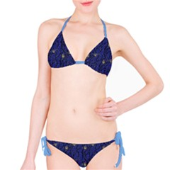Blue Pattern Owls In The Night Forest Bikini Set by CoolDesigns