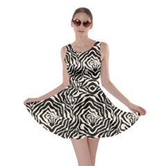 Black Zebra Skin Pattern Skater Dress by CoolDesigns