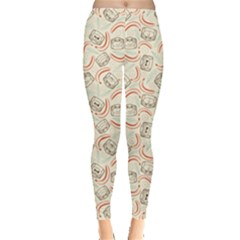 Brown Outline Monkeys and Bananas in Pattern Women s Leggings by CoolDesigns