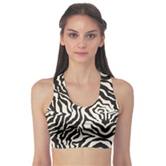 Black Zebra Skin Pattern Women s Sport Bra by CoolDesigns