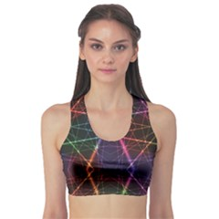 Black Neon Rainbow Colorful Laser With Random Beams Women s Sport Bra by CoolDesigns