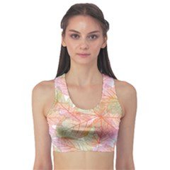 Yellow Detailed Leaves Women s Sport Bra by CoolDesigns