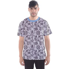 Blue Hand Drawn Pirate Pattern Men s Sport Mesh Tee by CoolDesigns