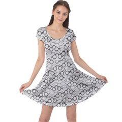 Gray Pattern Retro Glasses Cap Sleeve Dress by CoolDesigns