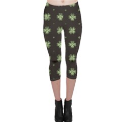 Black Pattern Made Of Watercolor Clover Leaves St Capri Leggings by CoolDesigns