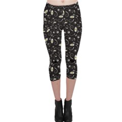 Black Handpainted Butterflies With Eyes Black And White Capri Leggings by CoolDesigns