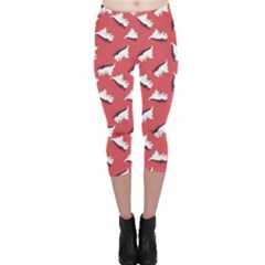 Pink Dinosaur Flat Pattern Capri Leggings by CoolDesigns