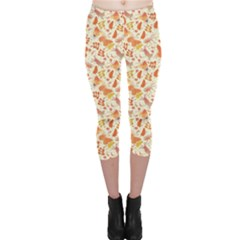 Colorful Watercolor Pattern With Insects Bees And Butterflies Capri Leggings by CoolDesigns