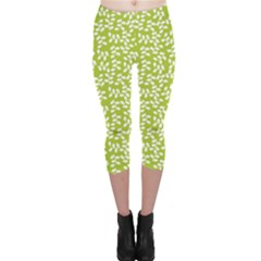 Green Floral Green Pattern Capri Leggings by CoolDesigns