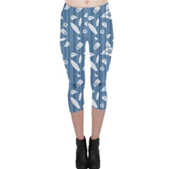 Blue Hawaiian Pattern With Hibiscus Flowers Surf Capri Leggings by CoolDesigns