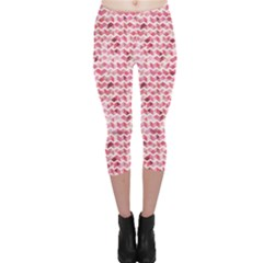 Pink Pink And White Chevron Pattern Capri Leggings by CoolDesigns