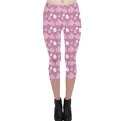 Violet Easter Rabbit With Eggs Pattern Capri Leggings by CoolDesigns