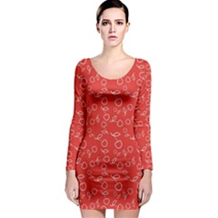 Red Pattern Circuit Cherry Long Sleeve Bodycon Dress by CoolDesigns