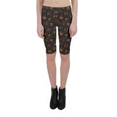 Black Happy Halloween Night Illustration Cropped Leggings by CoolDesigns