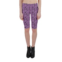 Purple Halloween Pumpkins Bats And Spiders Grungy Cropped Leggings by CoolDesigns