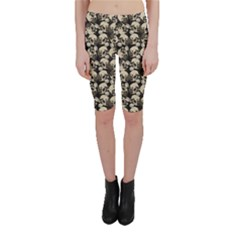 Black Skulls Pattern Cropped Leggings by CoolDesigns