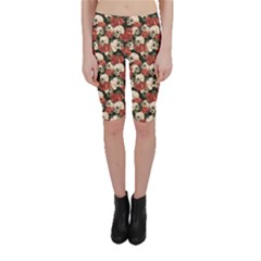 Brown Skull And Flowers Day Of The Dead Vintage Cropped Leggings by CoolDesigns