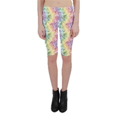 Colorful Pastel Rainbow Petals Cropped Leggings by CoolDesigns