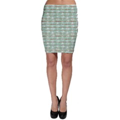 Green Old Boards Of Ship Deck Pattern Painted By Anchor Wheel Bodycon Skirt by CoolDesigns