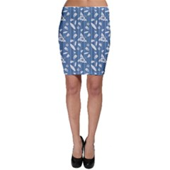 Blue Hawaiian Pattern With Hibiscus Flowers Surf Bodycon Skirt by CoolDesigns