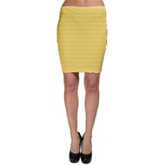 Yellow Yellow And White Chevron Pattern Bodycon Skirt by CoolDesigns