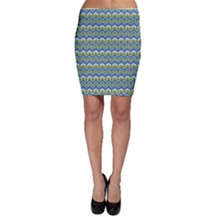 Blue Chevron Hand Painted Pattern Bodycon Skirt by CoolDesigns