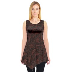 Red Black And Red Pattern Spirals Swirls Doodles Sleeveless Tunic Top by CoolDesigns
