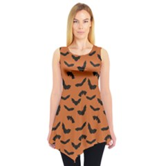 Orange Orange Halloween With Flying Bats Sleeveless Tunic Top by CoolDesigns