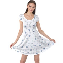 Blue Watercolor Hearts Pattern Cap Sleeve Dress by CoolDesigns