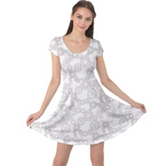 Gray Pattern Gear Wheels Black Checkered Cap Sleeve Dress by CoolDesigns