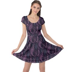 Purple Floral Pattern Feather Cap Sleeve Dress by CoolDesigns