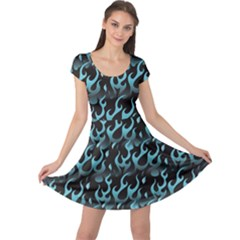 Blue Hot Blue Flames Pattern Cap Sleeve Dress by CoolDesigns
