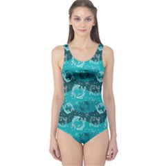 Turquoise Pattern Pisces Astrology Symbols One Piece Swimsuit by CoolDesigns