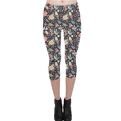 Colorful Cute Pattern Birds And Flowers Capri Leggings by CoolDesigns