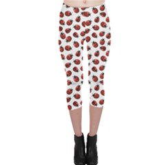 Red Pattern Red Ladybugs Capri Leggings by CoolDesigns