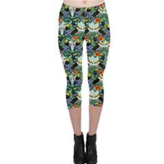 Colorful Hand Drawn Pattern Toucans Art Capri Leggings by CoolDesigns